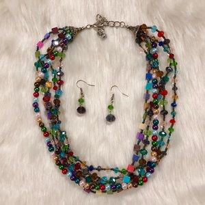 Colorful Necklace & Earring Set